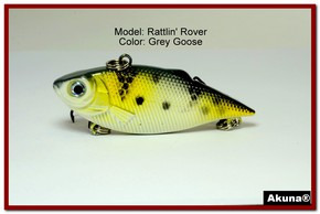 "Akuna Rattlin' Rover Lipless Series 2.5 inch Sinking Lure in color ""Grey Goose"" [BP 89-96]"