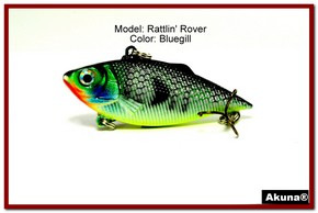 "Akuna Rattlin' Rover Lipless Series 2.5 inch Sinking Lure in color ""Bluegill"" [BP 89-97]"
