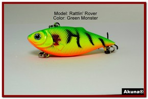 "Akuna Rattlin' Rover Lipless Series 2.5 inch Sinking Lure in color ""Green Monster"" [BP 89-98]"