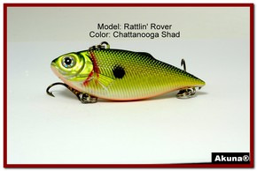 "Akuna Rattlin' Rover Lipless Series 2.5 inch Sinking Lure in color ""Chattanooga Shad"" [BP 89-99]"