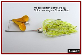 "Akuna Buzzin Bomb 1/2 oz Buzzbaits Spinnerbaits in color ""Norwegian Blonde with O-Shad Jighead"""