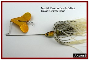 "Akuna Buzzin Bomb 1/2 oz Buzzbaits Spinnerbaits in color ""Grizzly Bear with Golden Shad Jighead"""