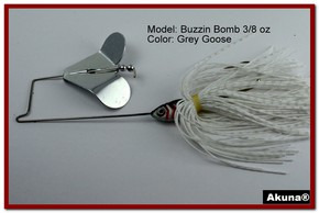 "Akuna Buzzin Bomb 1/2 oz Buzzbaits Spinnerbaits in color ""Grey Goose"""