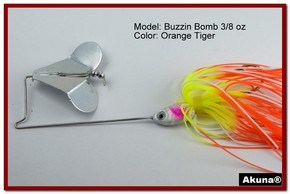 "Akuna Buzzin Bomb 1/2 oz Buzzbaits Spinnerbaits in color ""Orange Tiger"""