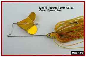 "Akuna Buzzin Bomb 1/2 oz Buzzbaits Spinnerbaits in color ""Desert Fox"""