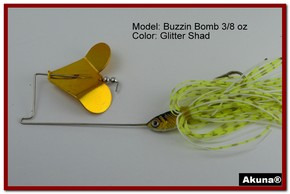 "Akuna Buzzin Bomb 1/2 oz Buzzbaits Spinnerbaits in color ""Norwegian Blonde with Golden Shad Jighead"""