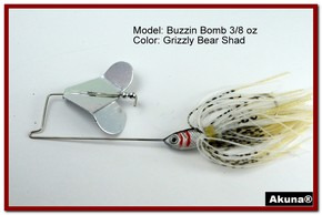 "Akuna Buzzin Bomb 1/2 oz Buzzbaits Spinnerbaits in color ""Grizzly Bear with Red-Gilled Shad Jighead"""