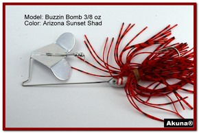 "Akuna Buzzin Bomb 1/2 oz Buzzbaits Spinnerbaits in color ""AZ Sunset with Red-Gilled Shad Jighead"""