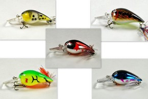"Akuna Pack of 5 Little Chubby 3"" Crankbait Fishing Lure - Clearance"