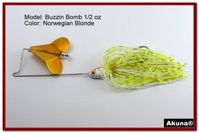 "Akuna Buzzin Bomb 3/8 oz Buzzbaits Spinnerbaits in color ""Norwegian Blonde with O-Shad Jighead"""