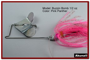"Akuna Buzzin Bomb 3/8 oz Buzzbaits Spinnerbaits in color ""Pink Panther"""