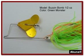 "Akuna Buzzin Bomb 3/8 oz Buzzbaits Spinnerbaits in color ""Green Monster"""