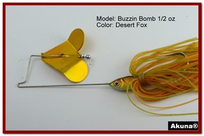 "Akuna Buzzin Bomb 3/8 oz Buzzbaits Spinnerbaits in color ""Desert Fox"""