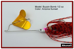 "Akuna Buzzin Bomb 3/8 oz Buzzbaits Spinnerbaits in color ""AZ Sunset with Cripple Shad"""