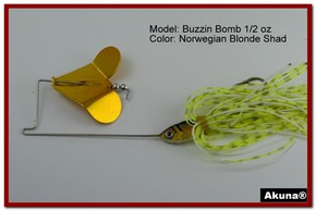 "Akuna Buzzin Bomb 3/8 oz Buzzbaits Spinnerbaits in color ""Norwegian Blonde with Golden Shad Jighead"""