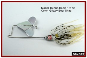 "Akuna Buzzin Bomb 3/8 oz Buzzbaits Spinnerbaits in color ""Grizzly Bear with Red-Gilled Shad Jighead"""