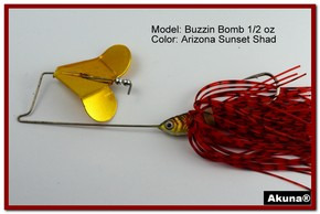 "Akuna Buzzin Bomb 3/8 oz Buzzbaits Spinnerbaits in color ""AZ Sunset with Golden Shad Jighead"""