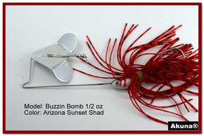 "Akuna Buzzin Bomb 3/8 oz Buzzbaits Spinnerbaits in color ""AZ Sunset with Red-Gilled Shad Jighead"""