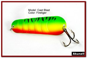 "Akuna Cast Blast 3"" Spoon Fishing Lure in color Firetiger [JM 02-21]"
