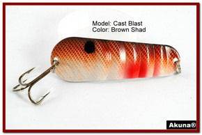"Akuna Cast Blast 3"" Spoon Fishing Lure in color Brown Shad [JM 02-25]"