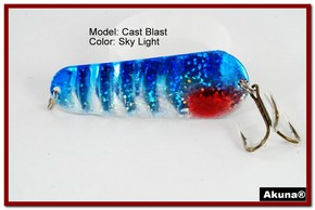 "Akuna Cast Blast 3"" Spoon Fishing Lure in color Sky Light [JM 02-83]"