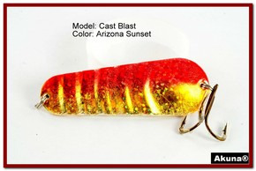 "Akuna Cast Blast 3"" Spoon Fishing Lure in color AZ Sunset [JM 02-84]"