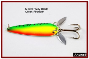 "Akuna Willy Blade 3"" Spoon Fishing Lure with 2 Side Spoons in color Firetiger [JM 10-21]"