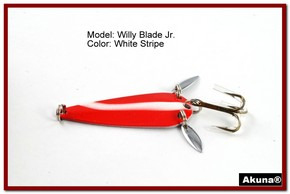 "Akuna Willy Blade Jr. 2.25"" Spoon Fishing Lure with 2 Side Spoons in color White Strip"