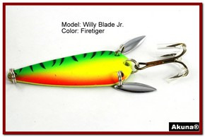"Akuna Willy Blade Jr. 2.25"" Spoon Fishing Lure with 2 Side Spoons in color Firetiger"