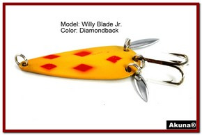 "Akuna Willy Blade Jr. 2.25"" Spoon Fishing Lure with 2 Side Spoons in color Diamondback"