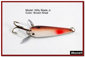 "Akuna Willy Blade Jr. 2.25"" Spoon Fishing Lure with 2 Side Spoons in color Brown Shad"