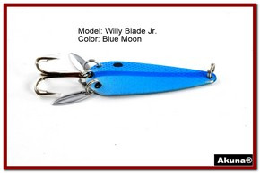 "Akuna Willy Blade Jr. 2.25"" Spoon Fishing Lure with 2 Side Spoons in color Blue Lagoon"