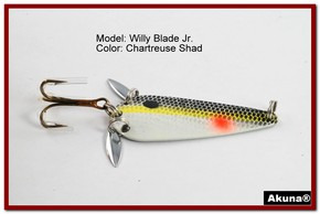 "Akuna Willy Blade Jr. 2.25"" Spoon Fishing Lure with 2 Side Spoons in color Chartreuse Shad"