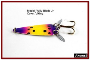 "Akuna Willy Blade Jr. 2.25"" Spoon Fishing Lure with 2 Side Spoons in color Viking"