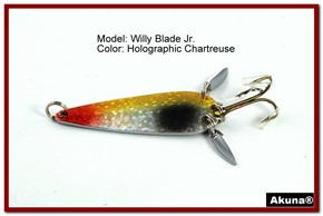 "Akuna Willy Blade Jr. 2.25"" Spoon Fishing Lure with 2 Side Spoons in color Holographic Chartreuse"