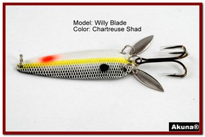 "Akuna Willy Blade 3"" Spoon Fishing Lure with 2 Side Spoons in color Chartreuse Shad [JM 10-27]"