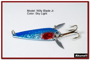 "Akuna Willy Blade Jr. 2.25"" Spoon Fishing Lure with 2 Side Spoons in color Sky Light"