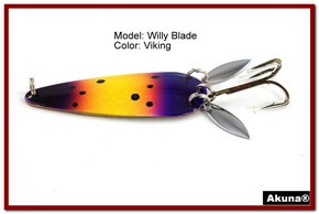 "Akuna Willy Blade 3"" Spoon Fishing Lure with 2 Side Spoons in color Viking [JM 10-33]"