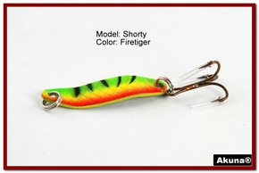"Akuna Shorty 1.5"" Spoon Fishing Lure in color Firetiger [JM 14-21]"