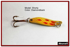 "Akuna Shorty 1.5"" Spoon Fishing Lure in color Diamondback [JM 14-22]"