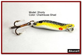 "Akuna Shorty 1.5"" Spoon Fishing Lure in color Chartreuse Shad [JM 14-27]"