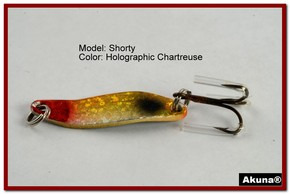 "Akuna Shorty 1.5"" Spoon Fishing Lure in color Holographic Chartreuse [JM 14-34]"