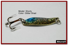 """Akuna Shorty 1.5"""" Spoon Fishing Lure in color Glitter Shad [JM 14-85]"""