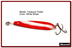 "Akuna Treasure Troller 3"" Trolling Spoon Fishing Lure in color White Strip [JM 15-20]"
