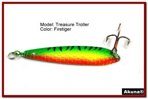 "Akuna Treasure Troller 3"" Trolling Spoon Fishing Lure in color Firetiger [JM 15-21]"