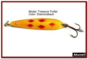 "Akuna Treasure Troller 3"" Trolling Spoon Fishing Lure in color Diamondback [JM 15-22]"