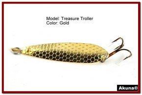 "Akuna Treasure Troller 3"" Trolling Spoon Fishing Lure in color Gold [JM 15-23]"