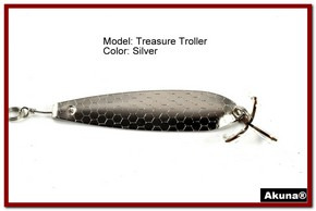 "Akuna Treasure Troller 3"" Trolling Spoon Fishing Lure in color Silver [JM 15-24]"