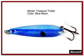 "Akuna Treasure Troller 3"" Trolling Spoon Fishing Lure in color Blue Lagoon [JM 15-26]"