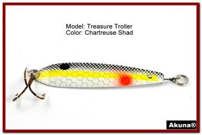 "Akuna Treasure Troller 3"" Trolling Spoon Fishing Lure in color Chartreuse Shad [JM 15-27]"